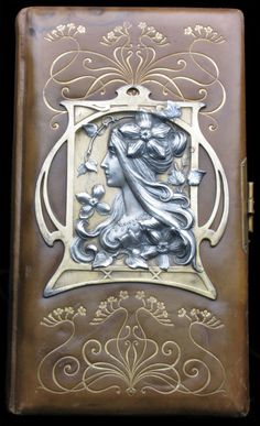 Art Nouveau photograph album - leather & pewter, ca. 1900 (Tadema Gallery, London)