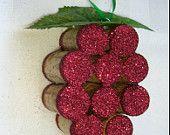 Wine Cork Grape Cluster Ornament Christmas $10.