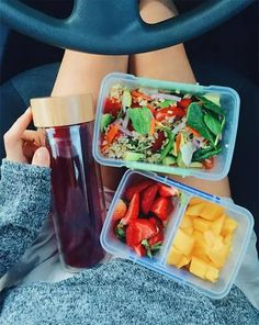 """Pre-prepped food can be oh-so-pretty. Take a cue from this vegan foodie, whose typical """"uni lunch"""" includes bamboo-infused rice salad, fresh-cut strawberries and mangoes, plus an antioxidant-rich batch of berry tea. Favorite new lunch buddy, confirmed. Best Meal Prep, Healthy Meal Prep, Healthy Snacks, Healthy Eating, Healthy Recipes, Diet Recipes, Snacks Recipes, Healthy Fruits, Diet Tips"""