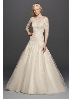 Oleg Cassini A-line Illusion Lace Wedding Dress CWG735