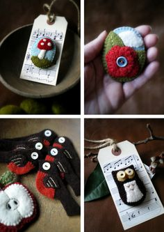 Great rustic colours and creations. Love the little mushroom <3