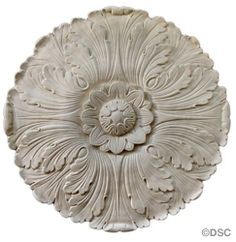 """Plaster Medallion--French--17 1/2"""" Diameter X 5/8"""" Relief 27006 by Decorators Supply, Chicago"""