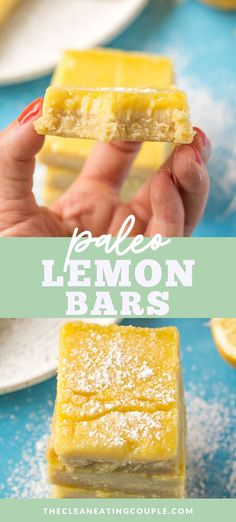 Paleo Lemon Bars are the perfect lighter dessert. Healthy, gluten free, grain free and refined sugar free. These lemon bars are sweetened with only maple syrup. This easy recipe is clean eating and low calorie. Nut free and SO yummy - you will love the creamy filling and decadent crust! Lemon Bars Healthy, Vegan Lemon Bars, Healthy Sweets, Healthy Dessert Recipes, Nut Free, Grain Free, Key Lime Pie Bars, Easy Clean Eating Recipes, Cookie Flavors