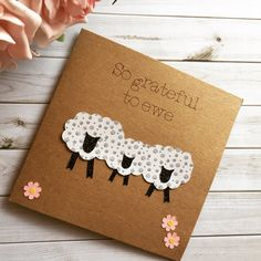 Thank You Card Thankyou card Thank Ewe Card by Connieskitchentable