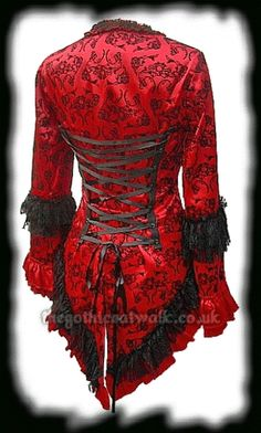 Red Satin & Black Velvet Flock Corset Jacket from The Gothic Catwalk A