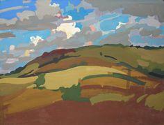 Lachlan Goudie | 'Harvest Fields', Gouache On Board; 33x25cm | Detail