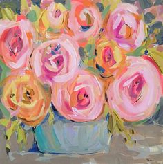 Rosafina  Size: 20 x 20 x 1 3/8 sides SQUARE  Acrylic on Gallery Wrapped Canvas, sides are painted a bright lime from the leaves so its pretty from all angles. Makes a statement. Pretty and abstract flowers.  Color.    Edgy and loose, not too sweet for an abstract floral. Questions, just ask!  Original art becomes property of buyer, seller retains right to sell prints unless otherwise discussed.