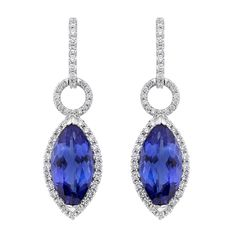 Diamond and Tanzanite Earrings in 18K White Gold | Luxify | Luxury Within Reach