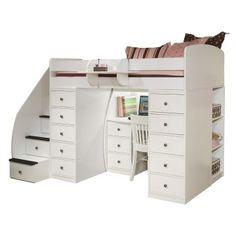 Sierra Spacesaver Loft with Desk / 2 Chests / Stairway - Loft Beds at Hayneedle