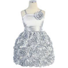 Flower Girl Holiday Dress Style 373-Bubble Rosette Party Dress ($53) ❤ liked on Polyvore