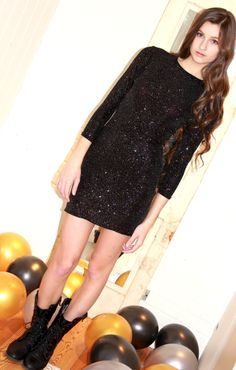 Black & Gold Party Dress. $68. www.etsy.com/shop/VICTROLAdesigns