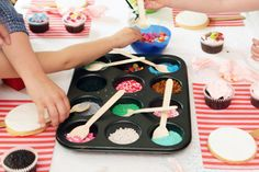 Another fun way to display toppings for cookie or cupcake decorating