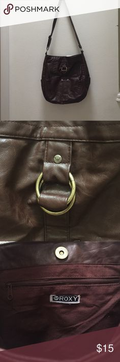 Brown (faux) leather shoulder bag. Great for books/laptop/kindle. Used but good condition and could get a lot of use out of it! Roxy brand. Bags Shoulder Bags