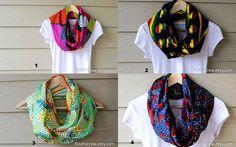 Infinity scarf: Ankara African Wax circle scarf, men's scarf, women's scarf, snood MEDIUM