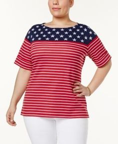 Karen Scott Plus Size Printed Boat-Neck Top, Only at Macy's - Red 2X