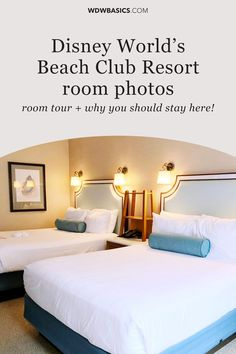 Disney World Beach Club Resort Room Tour and Photos// WDW Basics // Disney World's Beach Club Resort rooms have plenty of space for families of four and elegance and serenity that can't be found at other Disney Resorts. // PIN THIS and TAP TO VIEW #disneyworldbeachclub #disneybeachclub #beachclubresort