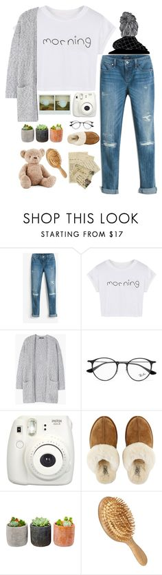 """Lazy morning"" by grantaire1832 ❤ liked on Polyvore featuring White House Black Market, WithChic, MANGO, Ray-Ban, Fujifilm, UGG, Shop Succulents and Jellycat"