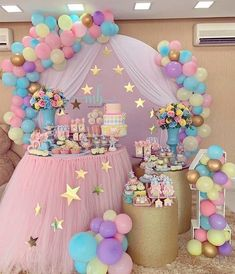 first birthday party theme Princess Birthday Party Decorations, 1st Birthday Party For Girls, Unicorn Themed Birthday Party, Birthday Balloons, Baby Birthday, Pastell Party, Deco Baby Shower, Bridal Shower, Care Bear Birthday