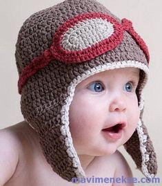 Hand Crochet Baby Aviator Hat – Knitting patterns, knitting designs, knitting for beginners. Diy Crochet Hat, Bonnet Crochet, Crochet Winter Hats, Crochet Bebe, Crochet For Kids, Easy Crochet, Crochet Style, Crochet Flower, Free Crochet