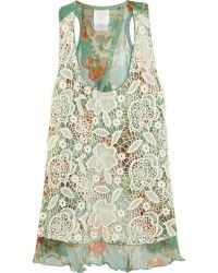 Anna Sui Lacecovered Printed Silk Tank in Green (mint) | Lyst
