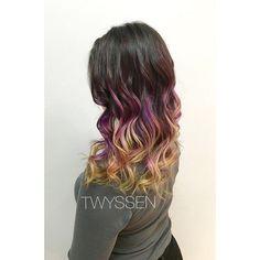 Soft sunset hair. #hairbykalli #hairstylist #hair #hairjoi #hairlove #hairnerd #hairbrained #vancouver #vancouverhair #vancouverhairstylist #yvr #otf #otfmain #onthefringe #mainstreet #mainstreethairstylist #joico #joicocolor #joicointensity #sunsethair #ombre #pink #yellow #orange #sunset #passion #lovemyjob #lovethisgirl #imallaboutdahair
