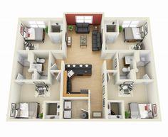 4 Bedroom Apartment/House Plans  43) 4 Bedroom_3D