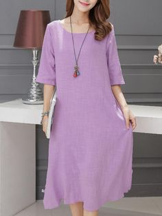 #BerryLook - #berrylook Solid Pocket Round Neck Midi Shift Dress - AdoreWe.com