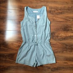 Anthropologie Chambray Floral Sleeveless Romper