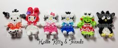 Hello Kitty and her friends are here.  Make these favorite Sanrio Characters on the Rainbow Loom.  Here's the link for the tutorials: http://www.youtube.com/playlist?list=PLZgH907VdTZtds2y2nU3st4NzxoMWcjSP.   For extended looms (two looms) the tutorials are here: http://www.youtube.com/playlist?list=PLZgH907VdTZuIOhT-ZHNpA81ipuiVuJ7_