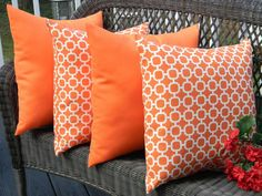 SET OF 4 20 Indoor Outdoor Throw Pillows 2 Black and White