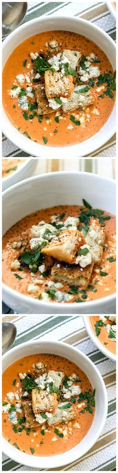 Roasted Red Pepper & Tomato Bisque - A creamy roasted red pepper and tomato bisque garnished with crispy croutons and blue cheese crumbles.