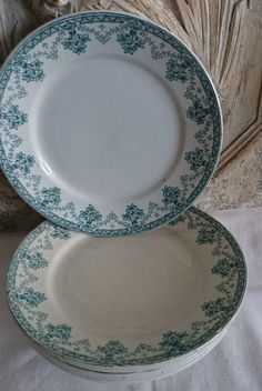 Vintage French Turquoise Green Transferware by FrenchPastTimes