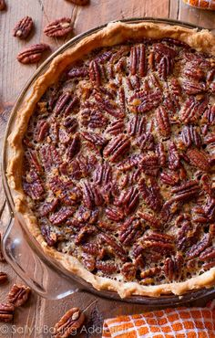 My Favorite Pecan Pie Recipe ~ Classic and simple with a dash of cinnamon, melted butter, and vanilla. This is my favorite pecan pie recipe for obvious reasons! Pecan Recipes, Pie Recipes, Baking Recipes, Dessert Recipes, Homemade Pecan Pie, Best Pecan Pie, Thanksgiving Recipes, Holiday Recipes, Thanksgiving Table