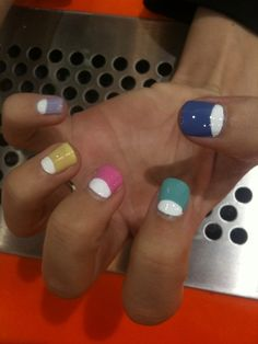 As soon as I master the half moon mani, I will do this with my Barry M pastels! #reverse #nailart #halfmoon