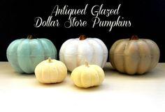 How to Make Antique Glazed Pumpkins via Dollar Store Crafts