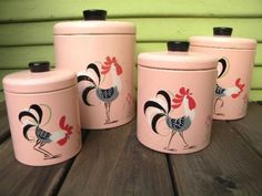 Retro Vintage Pink Rooster Canisters by SongbirdSalvation on Etsy - Vintage Canisters, Vintage Kitchenware, Vintage Tins, Vintage Dishes, Vintage Love, Vintage Decor, Vintage Antiques, Retro Vintage, Kitchen Canisters