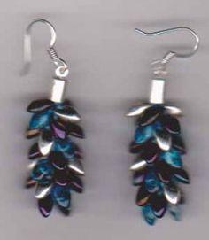 Kumihimo Earrings made with 4 beads per strand