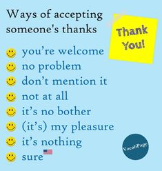 Ways of accepting someone's thanks