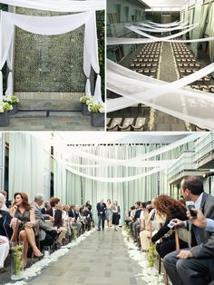 Decoration ideas: low gray planters with flowers for altar/aisle markers