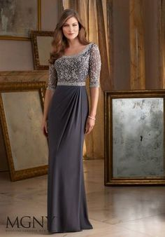 Intricate Beading on Jersey Mother of the Bride Dress Designed by Madeline Gardner. Colors available: Charcoal, Emerald, Navy