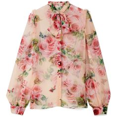 Dolce Gabbana Pussy-bow floral-print silk-chiffon blouse (€1.025) ❤ liked on Polyvore featuring tops, blouses, floral tops, flower print top, pink blouse, bow collar blouse and silk chiffon blouse