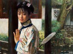 陈逸鸣油画作品:仕女系列-2 - 依栏  1998年作 作品尺寸:76.2*101.6cm