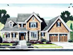 Large Porches and High Ceilings offer Exciting Amenities (HWBDO55289) | European House Plan from BuilderHousePlans.com
