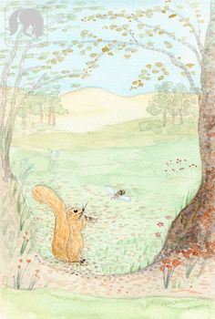 Squirrel and Bee in Springtime I Animal and Nature Artwork
