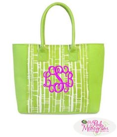 Looking for an everyday bag to carry This beautiful monogrammed green and white bamboo two toned tote is perfect for women on the go  www.thepinkmonogram.com