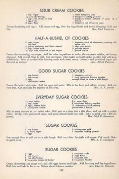 Vintage Recipes: 96 Cookie Recipes from 1940 Galletas Cookies, Candy Cookies, Cookie Desserts, Cookie Recipes, Dessert Recipes, Shortbread Cookies, Retro Recipes, Old Recipes, Vintage Recipes