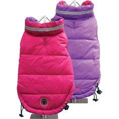FouFou Dog Fou Ski Parka Dog Coat, Fuchsia/Purple, Medium
