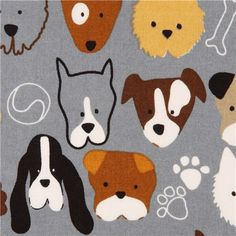 grey Timeless Treasures fabric dog faces  1