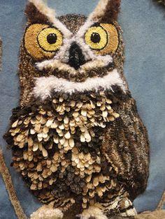"""Whoooo, me?"" -- Ali Strebel: 2013 Sauder Rug Show Outstanding owl...in 3-D, love it!"