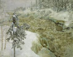 Imatra in Winter, 1893, by Akseli Gallen-Kallela (1865 - 1931).